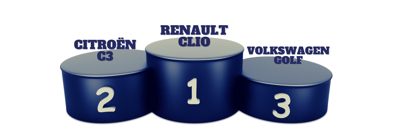 voiture-podiumvoiture-voiture préférée des français- renaultclio-volkswagen-volksvagen-acheter sa voiture d'occasion
